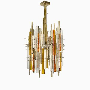 Large Brutalist Chandelier from Poliarte, 1960s