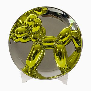 French Yellow Balloon Dog Plate by Jeff Koons for Bernardaud, 2015