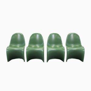 Vintage Baydur Stühle in Mattgrün von Verner Panton für Vitra, 4er Set