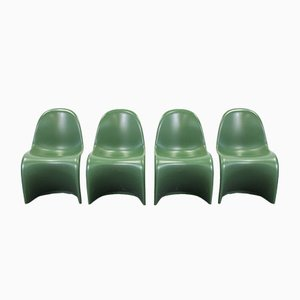 Vintage Matte Green Baydur Chairs by Verner Panton for Vitra, Set of 4