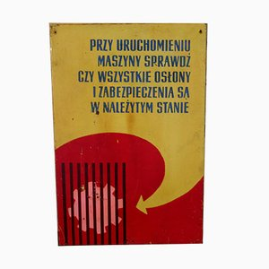 Vintage Polish Industrial Factory Shield Warning Sign