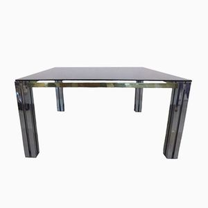 Italian Brass and Chrome Dining Table, 1970s