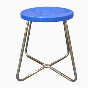 Functionalist Stool in Steel with Blue Seat, 1930s