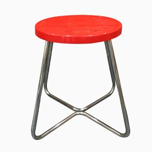 Functionalist Steel Stool with Red Seat, 1930s
