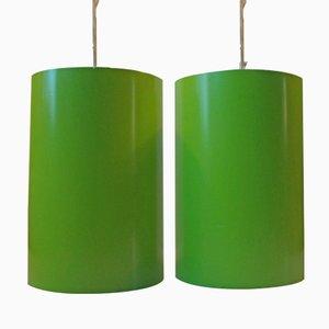Zylinderförmige dänische Hängelampen von Eila & John Meiling für Louis Poulsen, 1970er, 2er Set