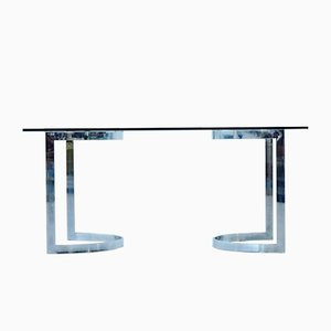 Space Age Chrome & Glass Dining Table by Milo Baughman, 1970s