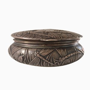 Jugendstil Box in Silver-Plated Bronze from Louchet Ciseleur, 1900