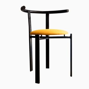 Vintage Yellow & Black Lacquered Metal Chair