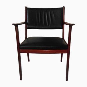 Model PJ412 Mahagony & Black Leather Armchair by Ole Wanscher for Poul Jeppesen, 1960s