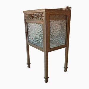 Spanish Art Deco Brass, Nickel, & Glass Side Table, 1930s
