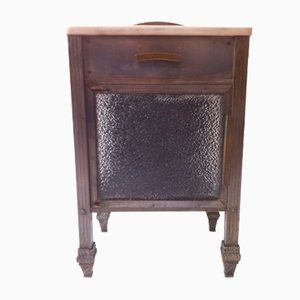 Spanish Art Deco Brass, Nickel, Glass, & Marble Side Table, 1930s