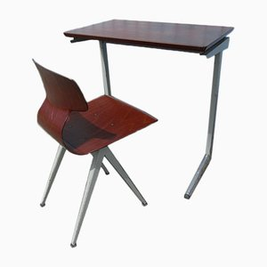 Industrielles Niederländisches Pult mit Stuhl von Galvanitas, 1960er