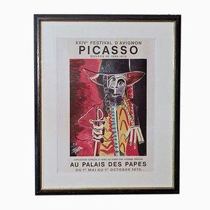 Affiche Picasso Vintage Signée à la Main pour l'Exposition au Palais des Papes, 1970