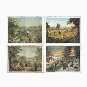 Antique Wall Chart Four Seasons by G. Schweisinger, 1885