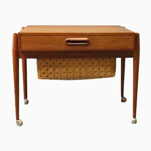 Danish Small Teak Sewing Table, 1960s