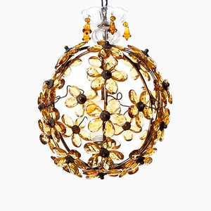Nine light chandelier in chrome brass and crystal glass by vintage amber crystal brass pendant aloadofball Gallery