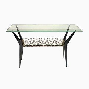 Italienischer Mahagoni & Glas Konsolentisch, 1950er