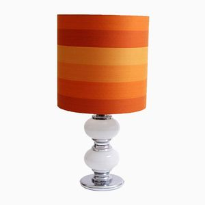 Orange Vintage Floor Lamp with Illuminated Base