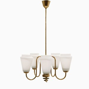 Mid-Century Scandinavian Five-Armed Chandelier in Brass, 1960s