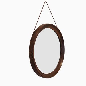 Circular Wenge Mirror by Uno & Osten Kristiansson for Luxus, 1960s