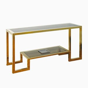 Large Gilt Brass and Chromed Steel Console by Romeo Rega, 1970s