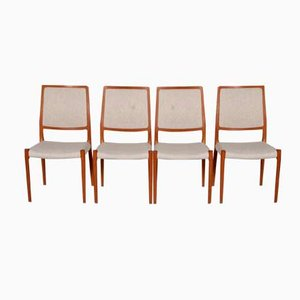 Teak and Fabric Chairs by Niels Otto Møller for J.L. Møllers, 1960s, Set of 4