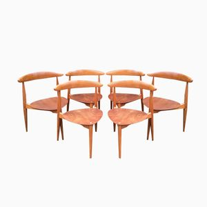 Model FH4103 Heart Dining Chairs by Hans Wegner for Fritz Hansen and Raymor, 1950s, Set of 6