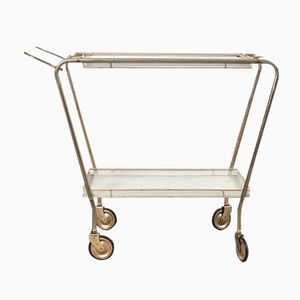 Italian Rolling Drink Cart in White Perforated Metal & Brass, 1950s