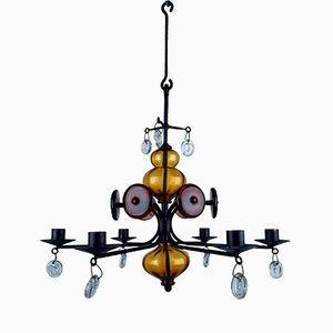 Captivating Vintage Chandelier By Erik Hoglund Chandelier For Boda Nova Glassworks U0026  Axel Stromberg Metalworks Images