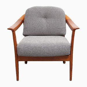 Kirschholz Sessel mit Grauem Bezug von Wilhelm Knoll, 1960er