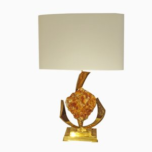 Gilt Brass & Rock Crystal Table Lamp by Jacques Duval-Brasseur, 1970s