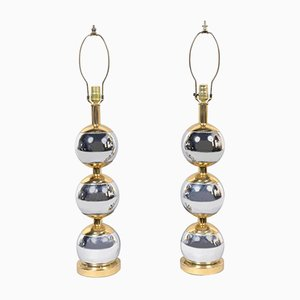 Vintage Stainless Steel & Copper Balls Table Lamps, 1970s, Set of 2