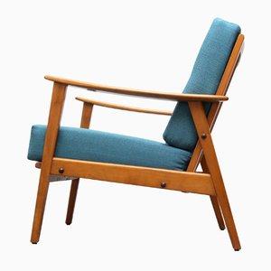Mid-Century Armchair in Dark Turquoise, 1950s