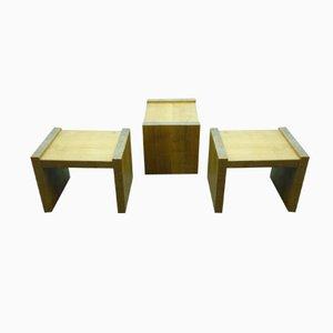 Cubic Bauhaus Stools, 1940s, Set of 3