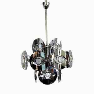 Chromed Brass Chandelier by Gaetano Sciolari, 1960