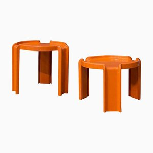 Orange Plastic Nesting Tables by Giotto Stoppino for Kartell, 1970s