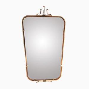 Italienischer Spiegel mit Aluminium & Messing Rahmen, 1950er
