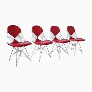 DKR Bikini Stühle aus Rotem Leder von Charles and Ray Eames für Vitra, 4er Set