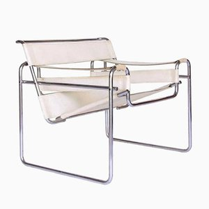 Vintage White Leather Wassily Chair by Marcel Breuer for Knoll