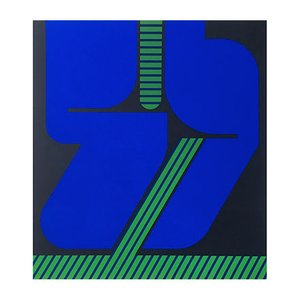 Vintage Blue & Green Screen Print by Georg Bernhard, 1970s