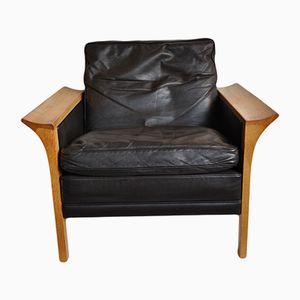 Model 400 Oak and Leather Lounge Chair by Hans Olsen for CS Mobelfabrik, 1966