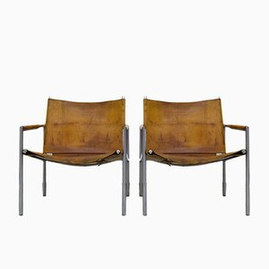 SZ01 Saddle Leather Armchairs by Martin Visser for 't Spectrum, Set of 2