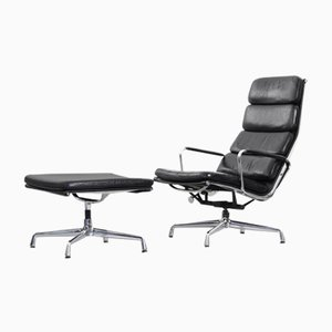 EA 222 Lounge Chair with Ottoman by Charles & Ray Eames for Vitra, 1970s