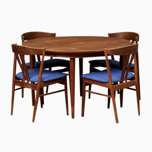 Danish Teak Dining Table with 4 Chairs from Vejle Stole og Mobelfabrik, 1960s