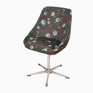 Vintage Swivel Chair with Floral Fabric