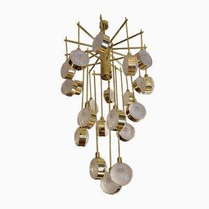 Italian Modern Mid-Century Brass and Glass Chandelier