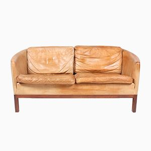 Tan Leather Rosewood Sofa by Illum Wikkelso for Holger Christensen