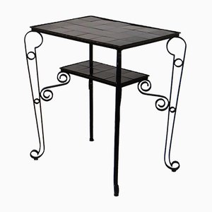 Vintage Black Side Table with Scrolled Legs