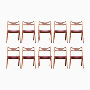 Mid-Century Sawback Chairs by Hans J. Wegner for Carl Hansen & Søn, 1952, Set of 10
