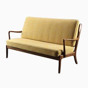 Dänisches Sofa mit 2 Sitzen aus Buchenholz und Wolle von Ole Wanscher für France & Søn, 1950er